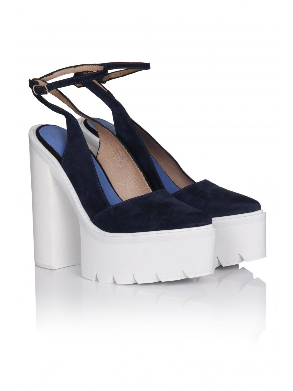 Celebrity Navy Suede & White Tread Sole Platform Shoes