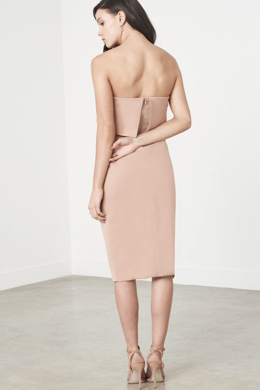 Camel Bandeau Cropped Tie Front Midi Dress