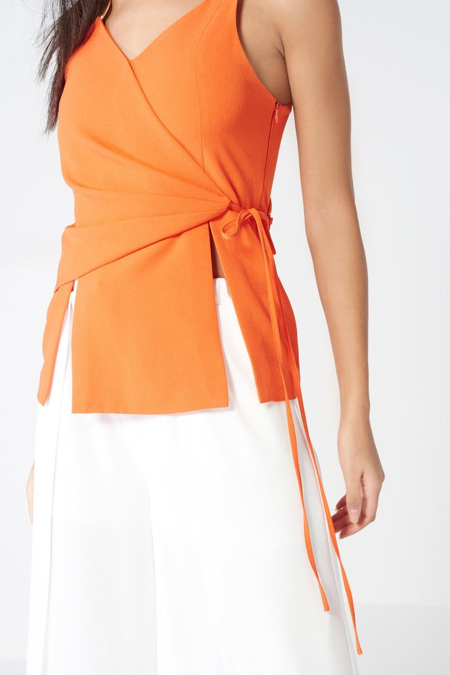 Orange Tie Wrap Front Rose Gold Ring Detail Cami Top