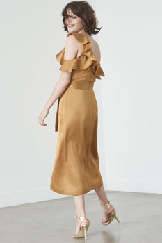 Frill Shoulder Dress in Gold Satin