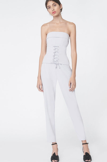 Corset Panel Tailored Jumpsuit in Dove Grey
