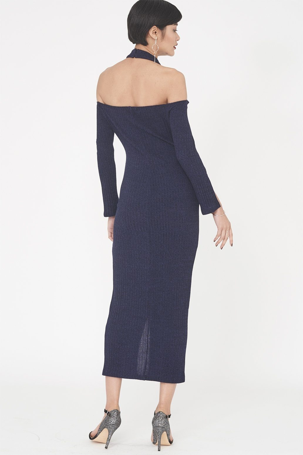 Cold Shoulder Rib Knit Dress in Navy