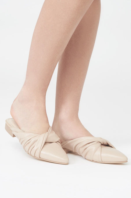 Twist Front Backless Mule in Nude Leather