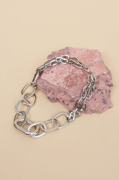 Contrast Chain Choker in Sterling Silver Plate