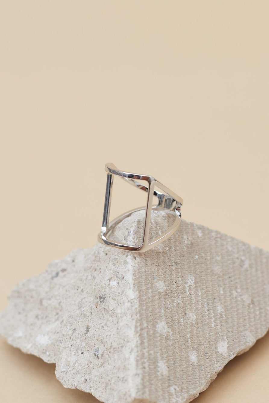 Square Frame Ring in Sterling Silver