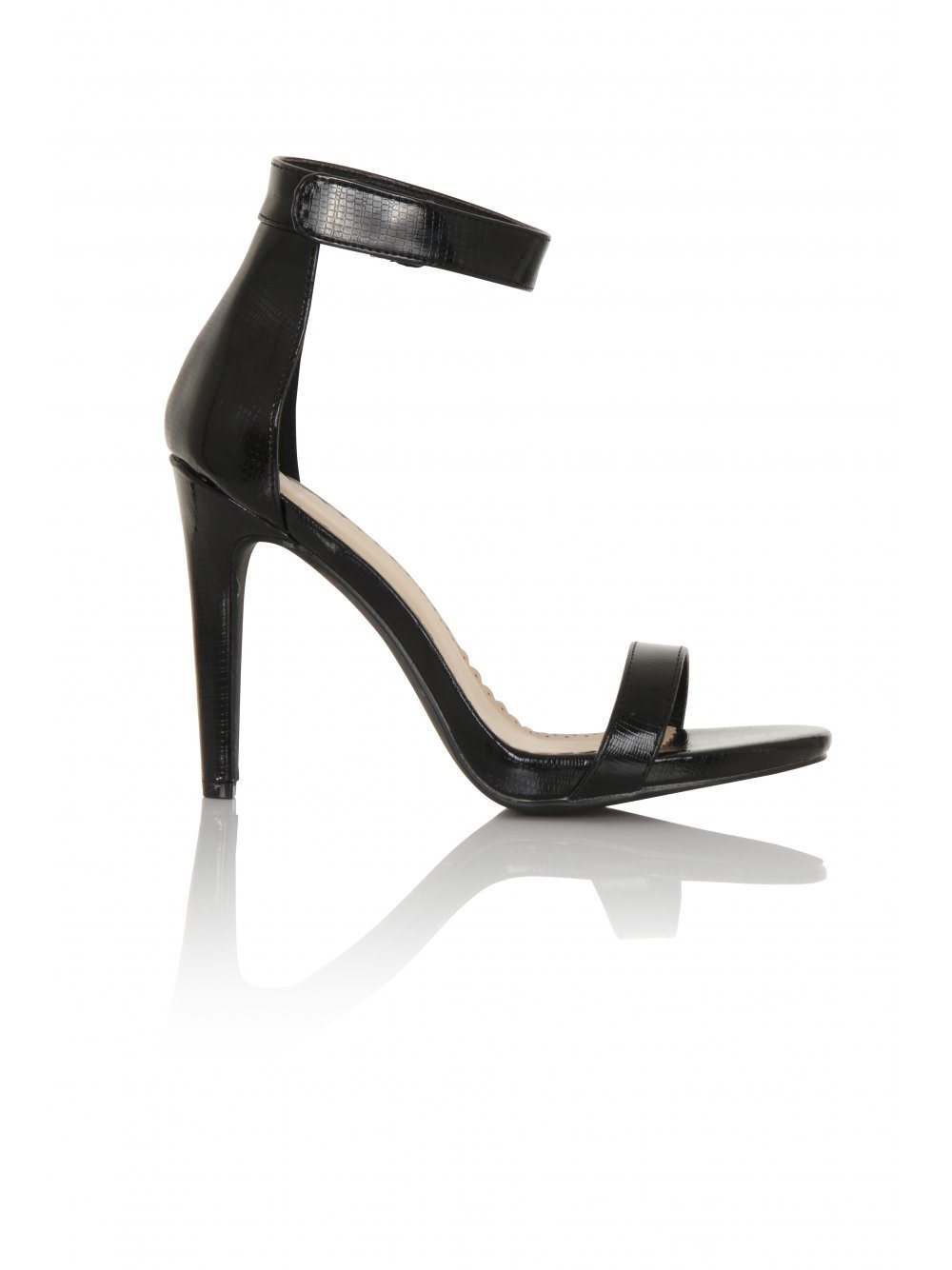 Black Snakeskin Effect Barely There Heeled Sandals