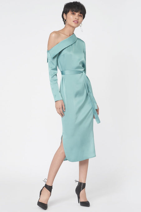 Asymmetric Shirt Dress in Teal Satin