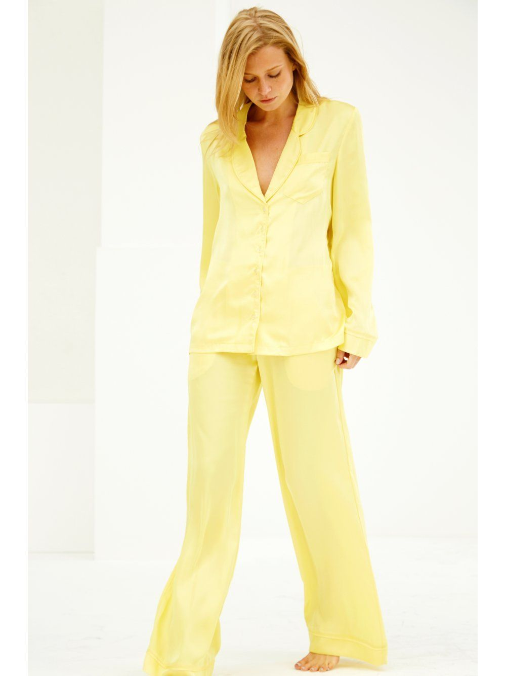 Canary Yellow Satin Pyjama Shirt