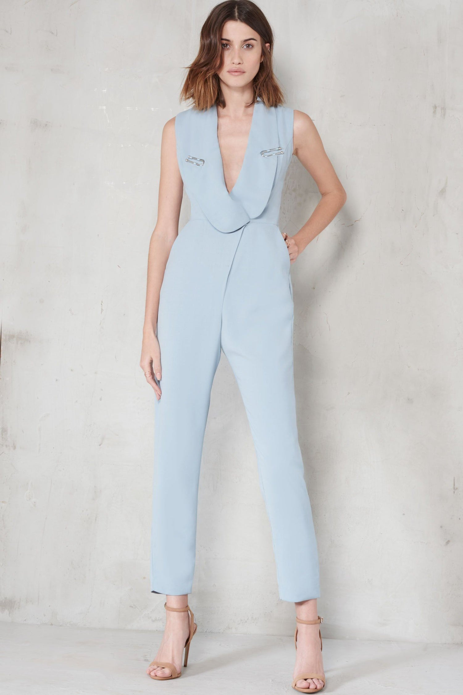 Powder Blue Metal Lapel Trim Blazer Style Jumpsuit