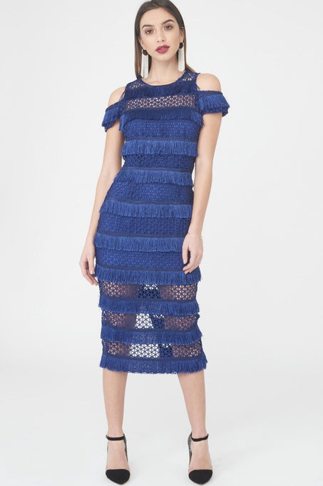 Royal Blue Lace Fringe Midi Dress