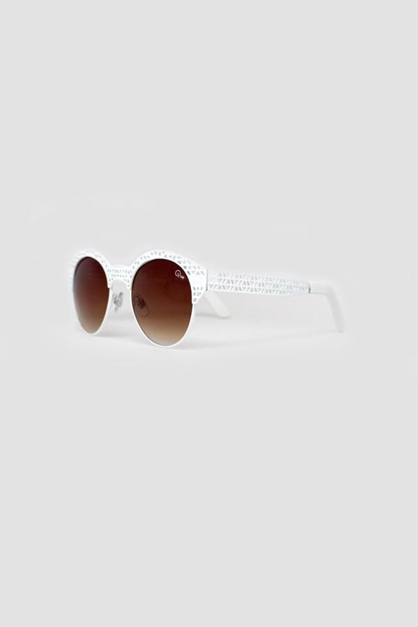 PIPPA White Metal Frame Round Sunglasses