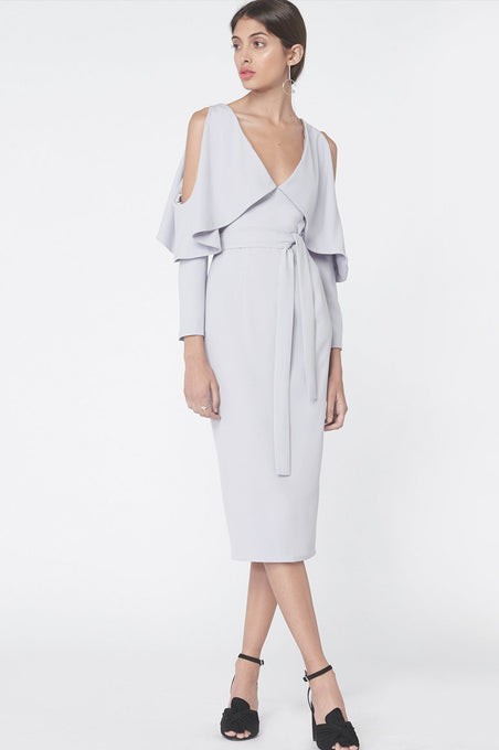 Drop Sleeve Midi Dress in Dove Grey