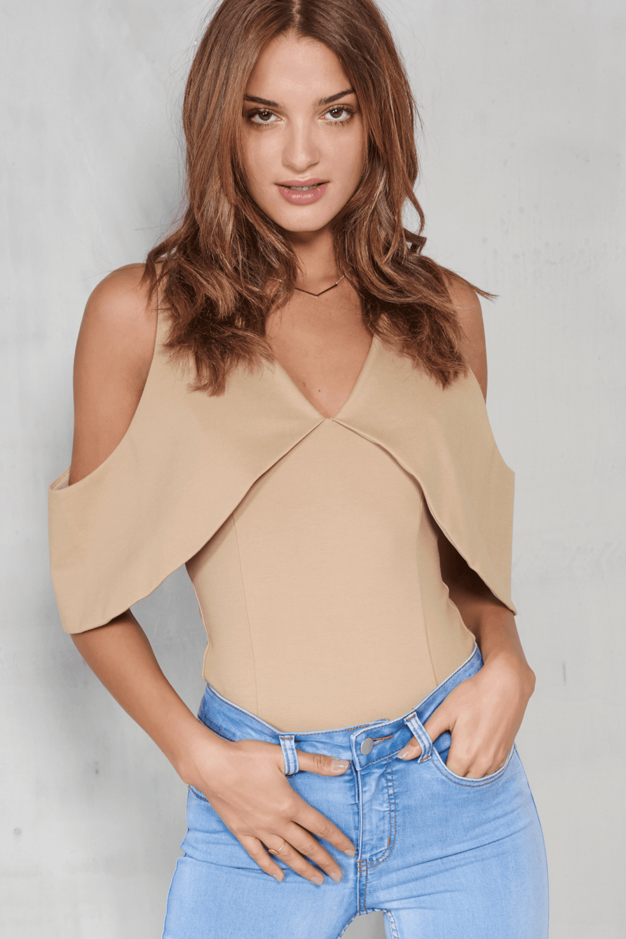 Light Camel Open Sleeve Thong Bodysuit