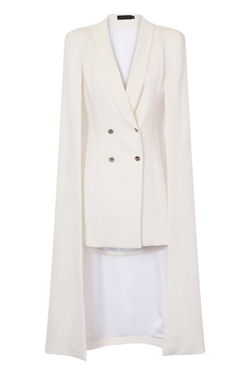 Off White Maxi Cape Blazer Mini Dress