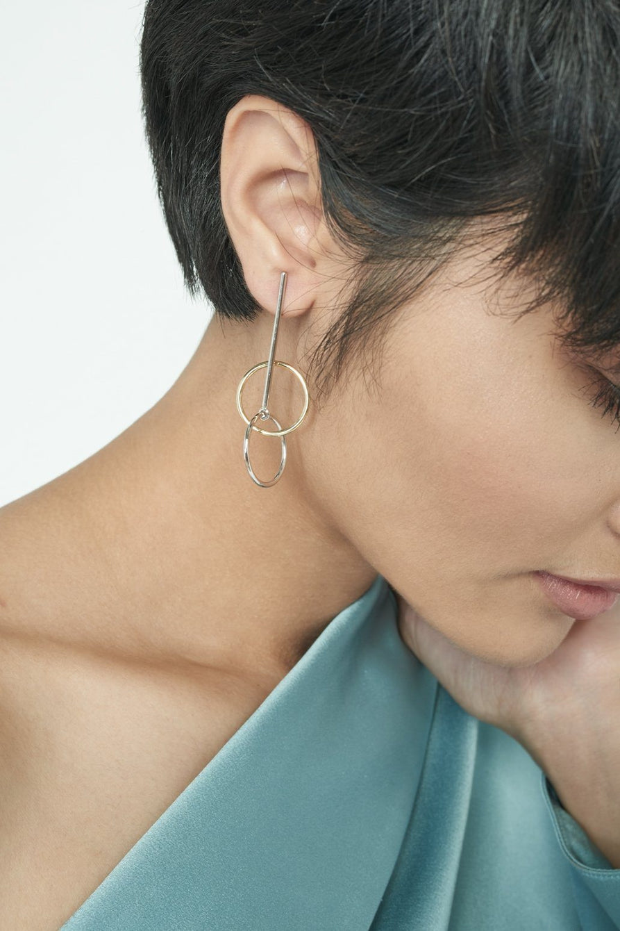 Multi Hoop Drop Earrings in Gold Plated Sterling Silver