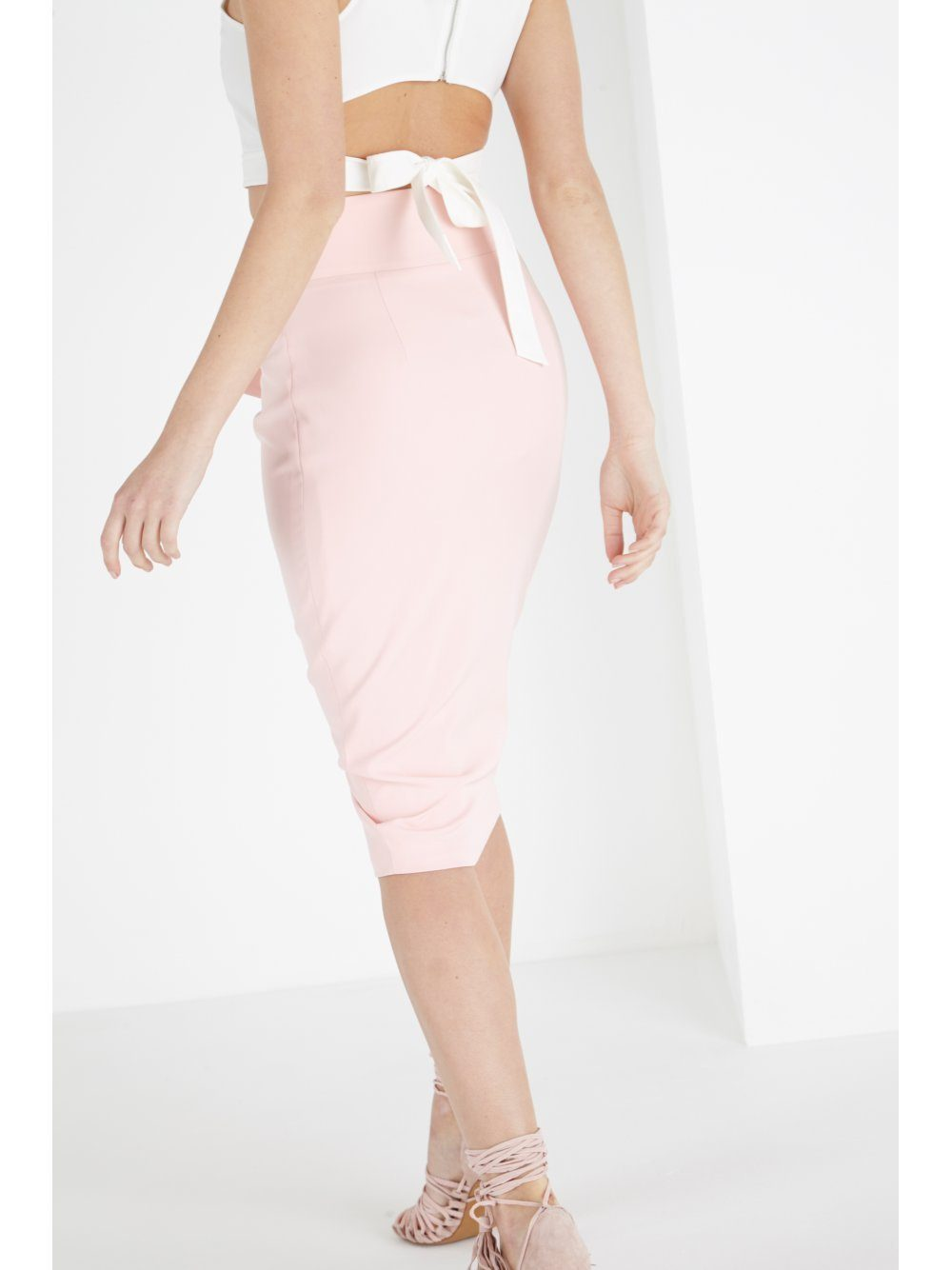 Blush Tie Detail Pencil Skirt