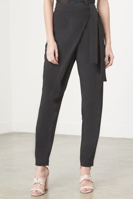 Wrap-Front Crop Trousers in Black