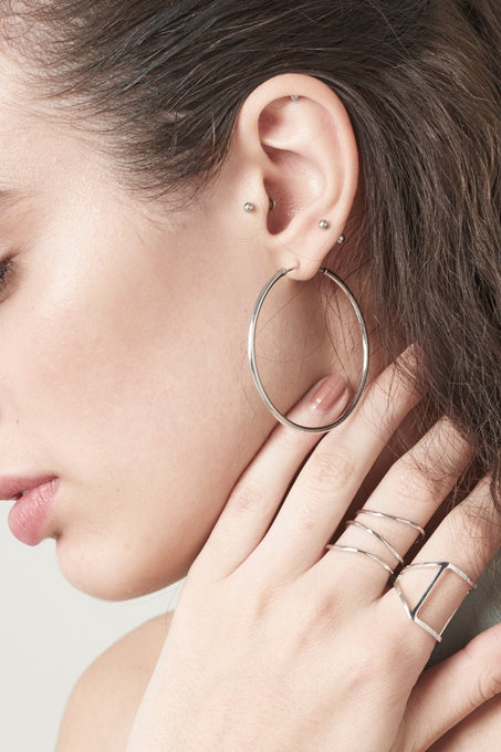 Sculptural Hoop Earrings in Sterling Silver