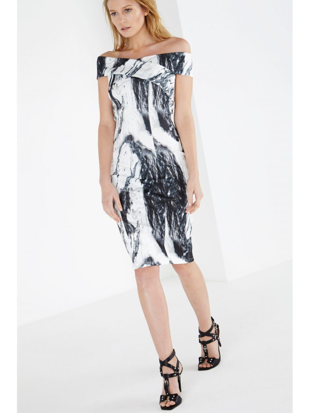 Marble Print Scuba Cross Bardot Bodycon Midi Dress