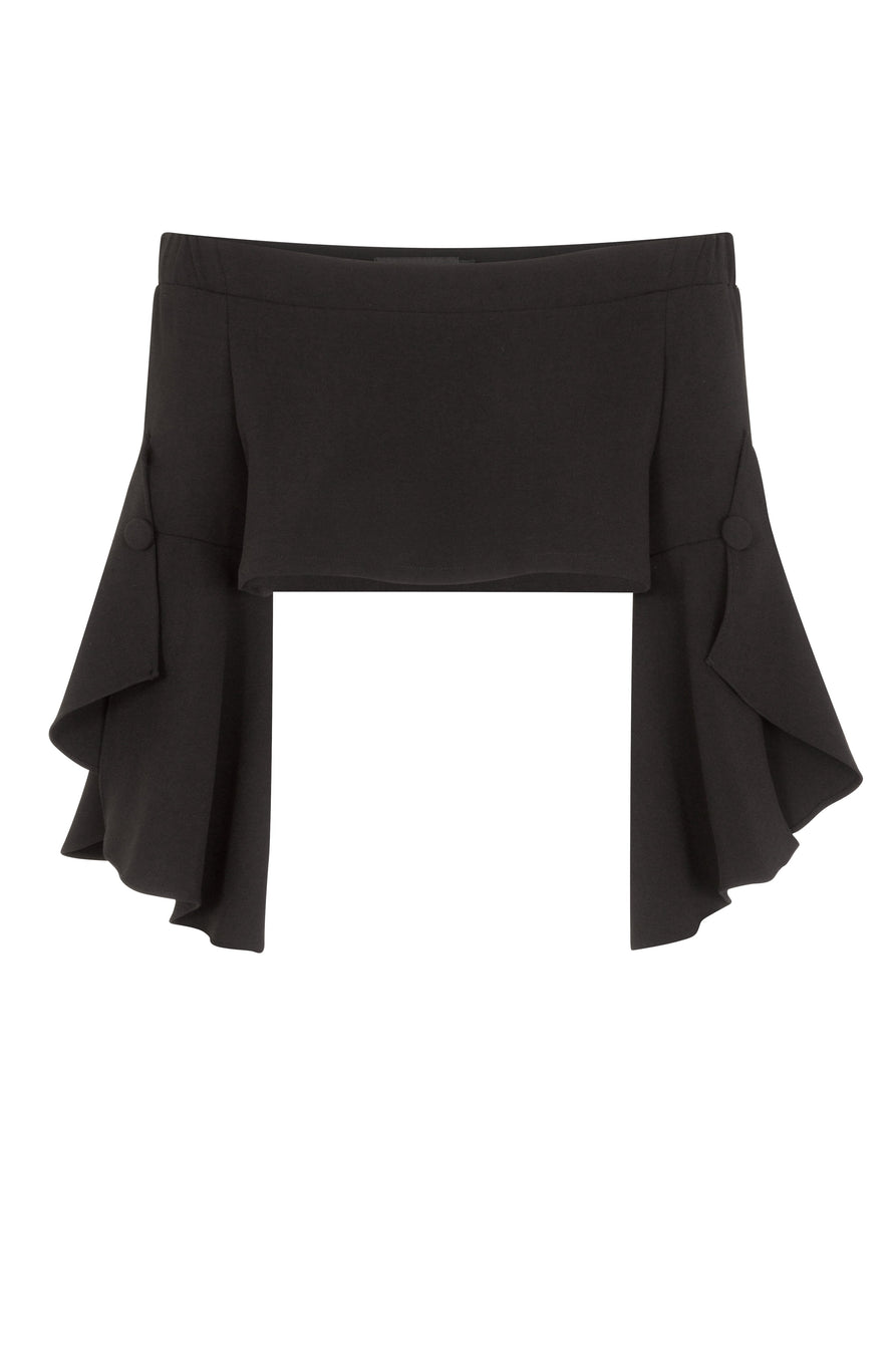 Bell Sleeve Crop Top in Black