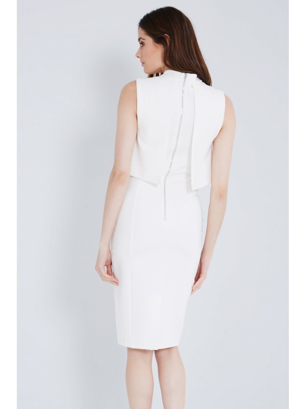 White High Neck Cropped Midi Dress (Brooke Hogan)