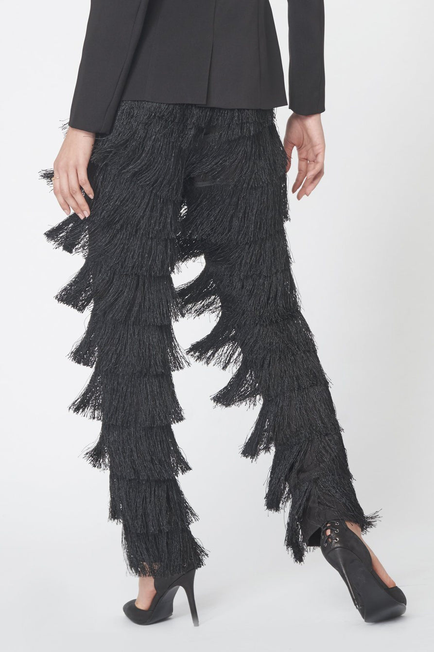 Tapered Fringed Trousers in Black