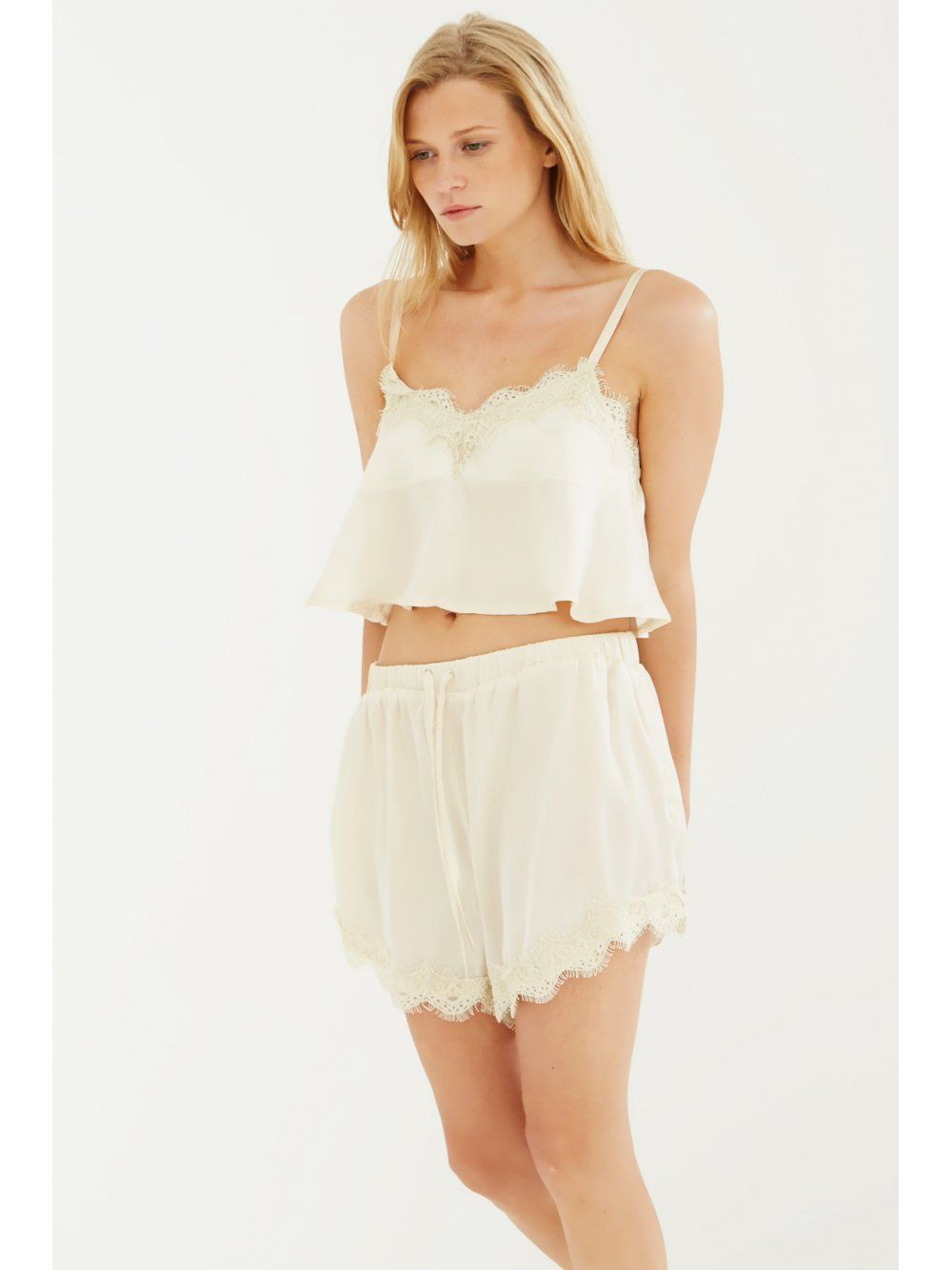 Champagne Satin Lace Trim Pyjama Shorts