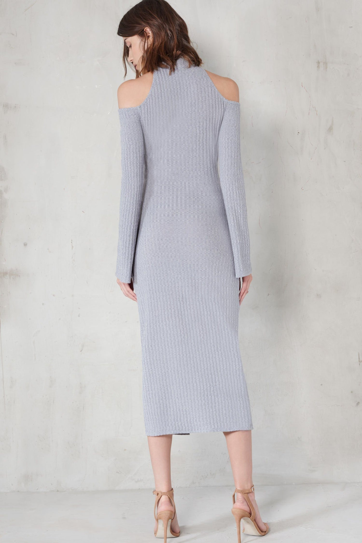 Grey Rib Knit High Neck Wrap Around Belt Midi Dress