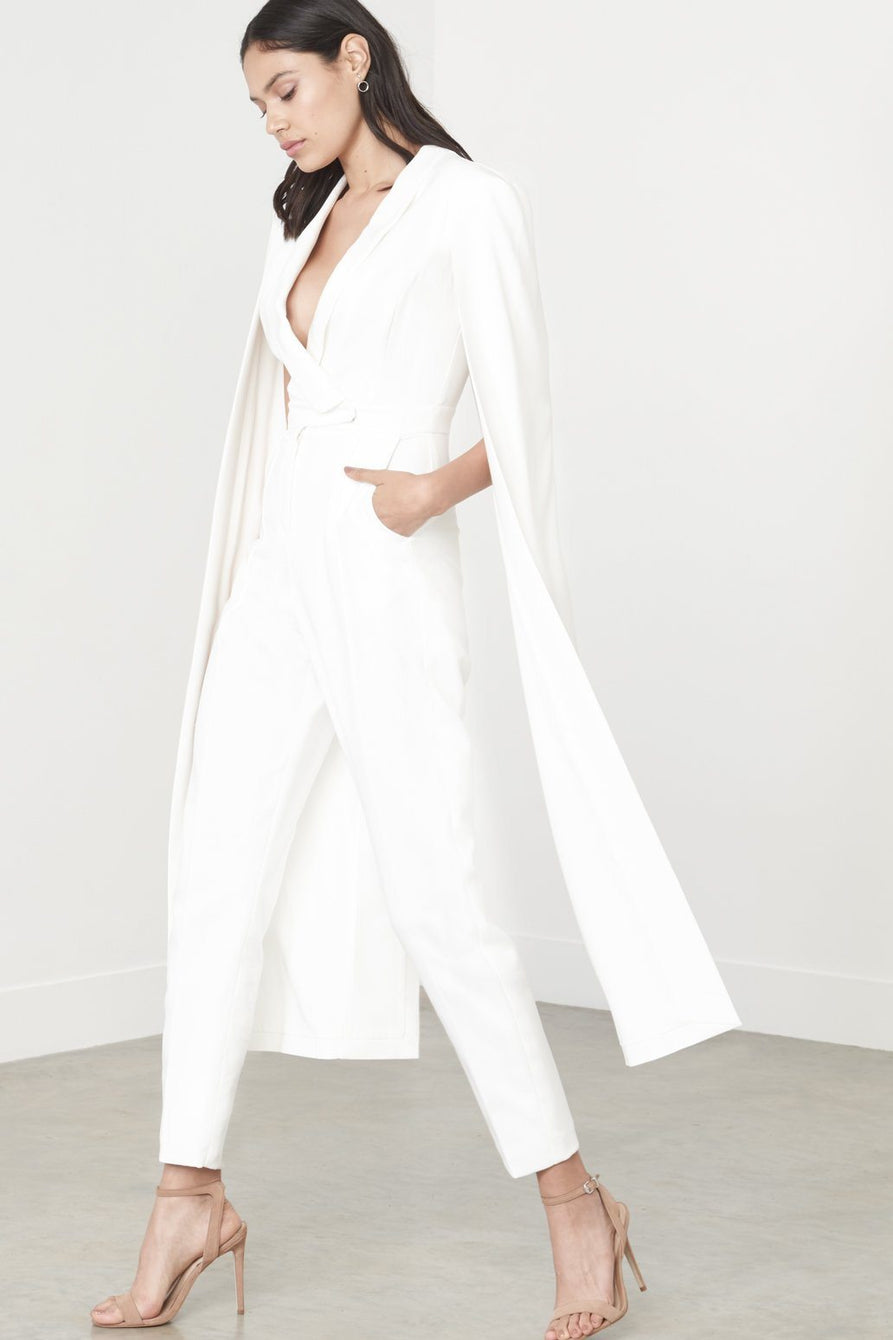 a09aabe77c78 Off White Tailored Cape Jumpsuit – Lavish Alice
