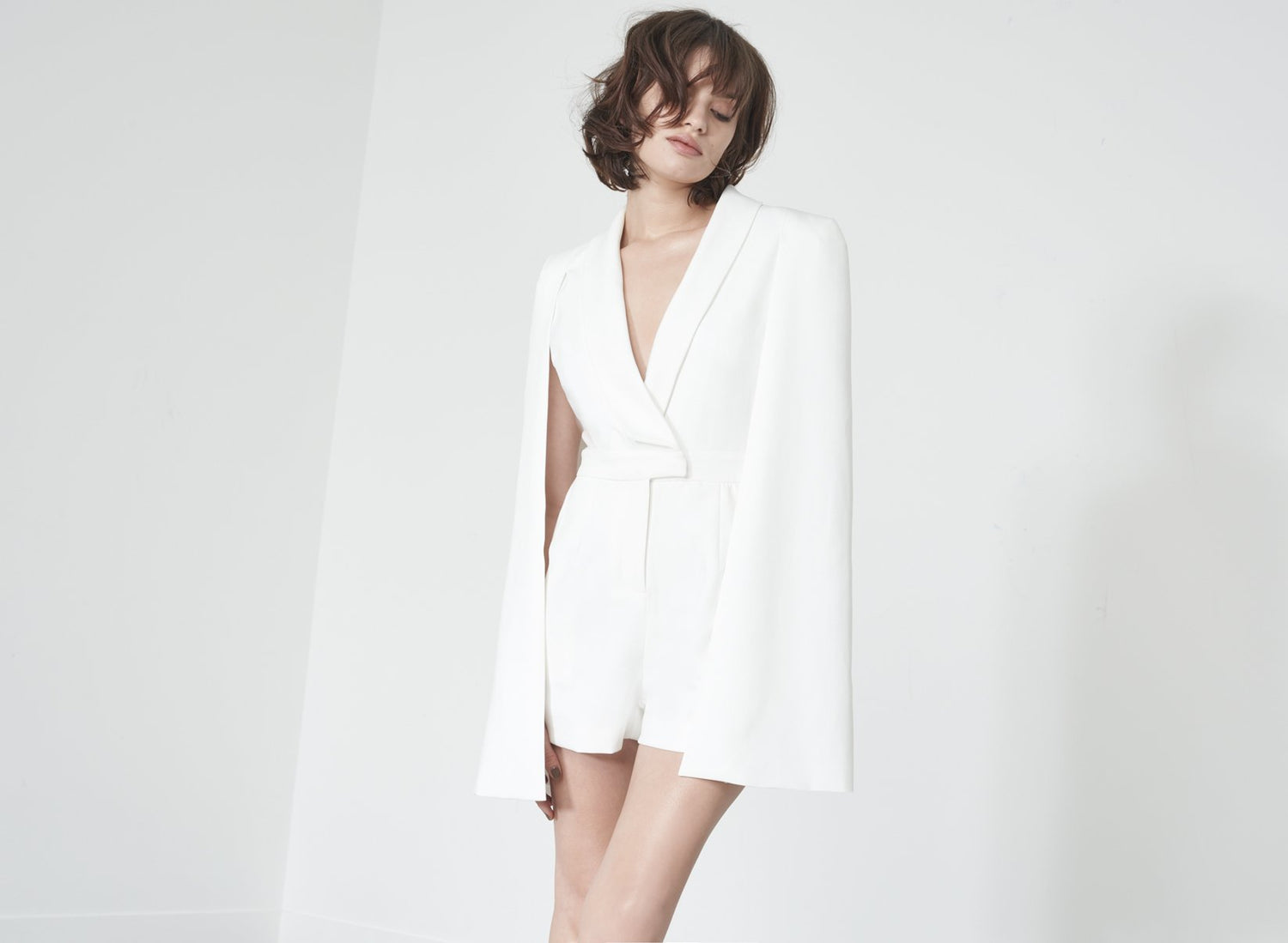 Caped Playsuit in White