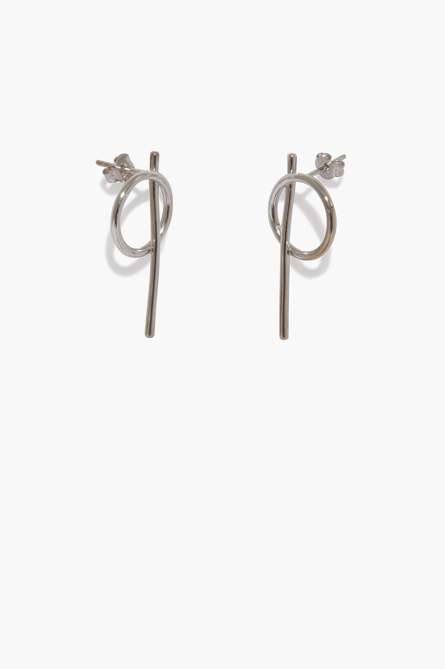 Geo Drop Stud Earrings in Sterling Silver