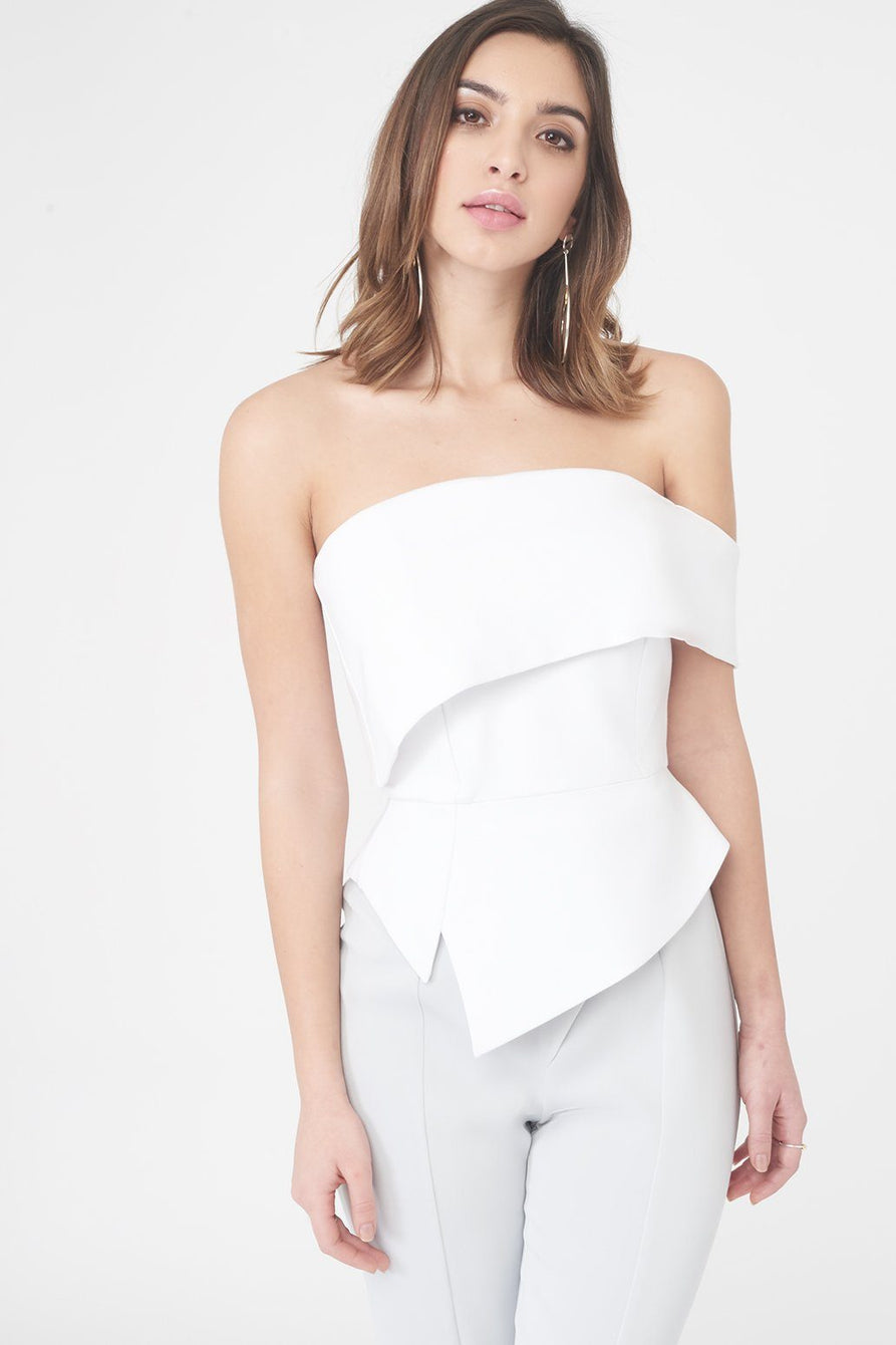Ponte Asymmetric Bardot with Peplum in White