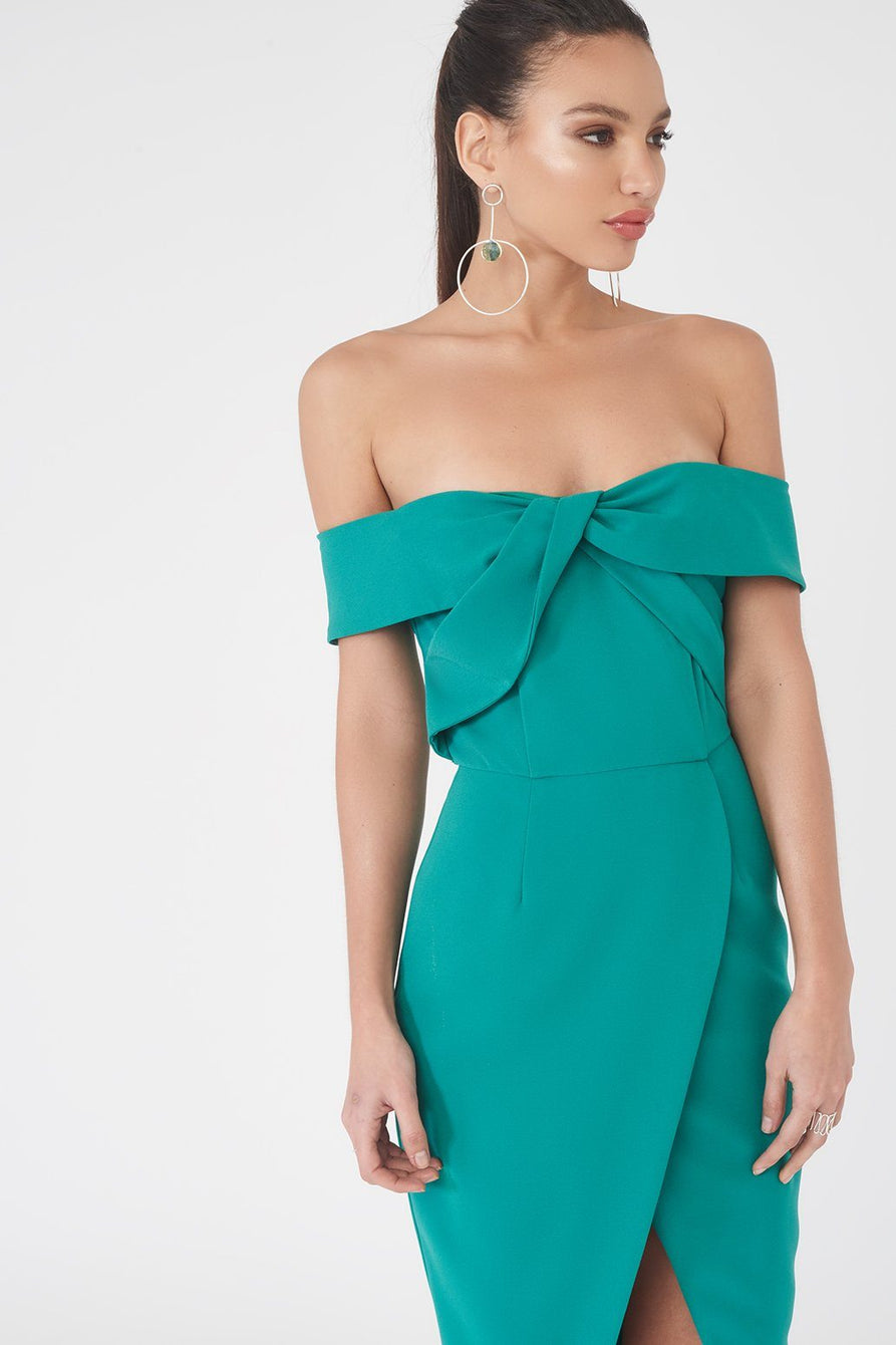 Woven Twist Bardot Midi Dress in Jade Green