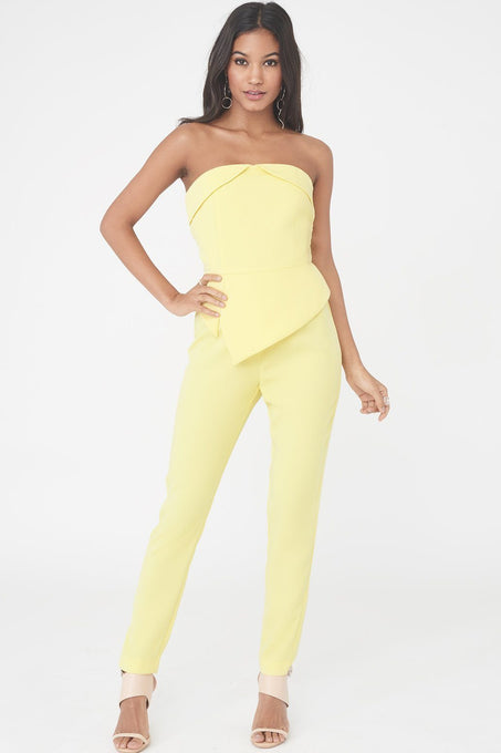 Bardot & Peplum Straight Leg Jumpsuit in Yellow
