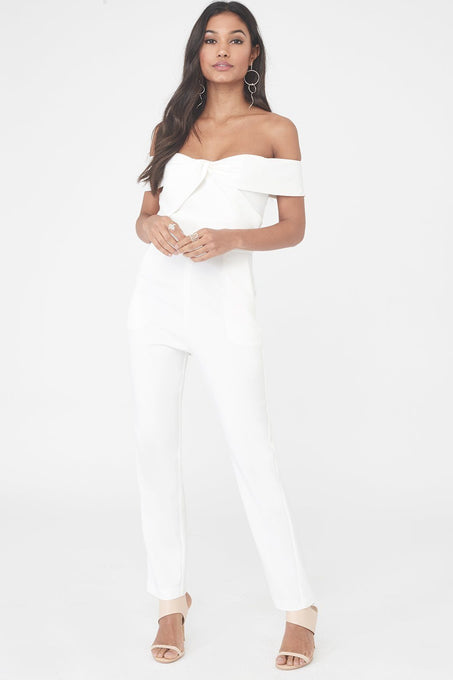 Woven Twist Bardot Tapered Jumpsuit in White