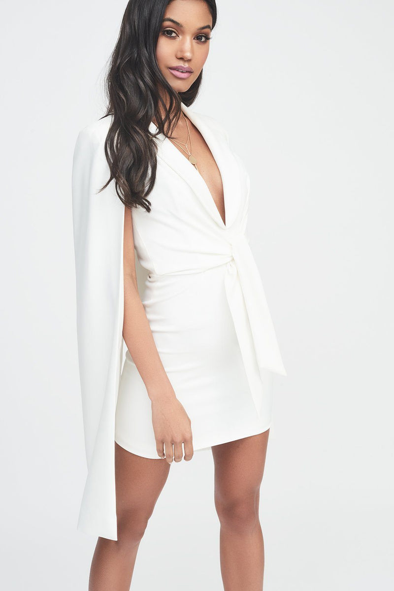 Gathered Tie Waist Cape Dress in Cream
