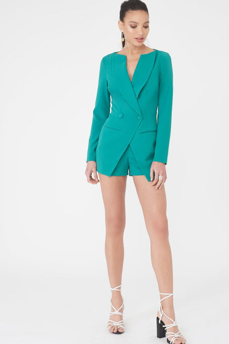 Off The Shoulder Double Breasted Blazer Style Playsuit in Jade Green