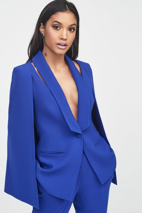 Fitted Cape Blazer with Cut Out Shoulder Detail