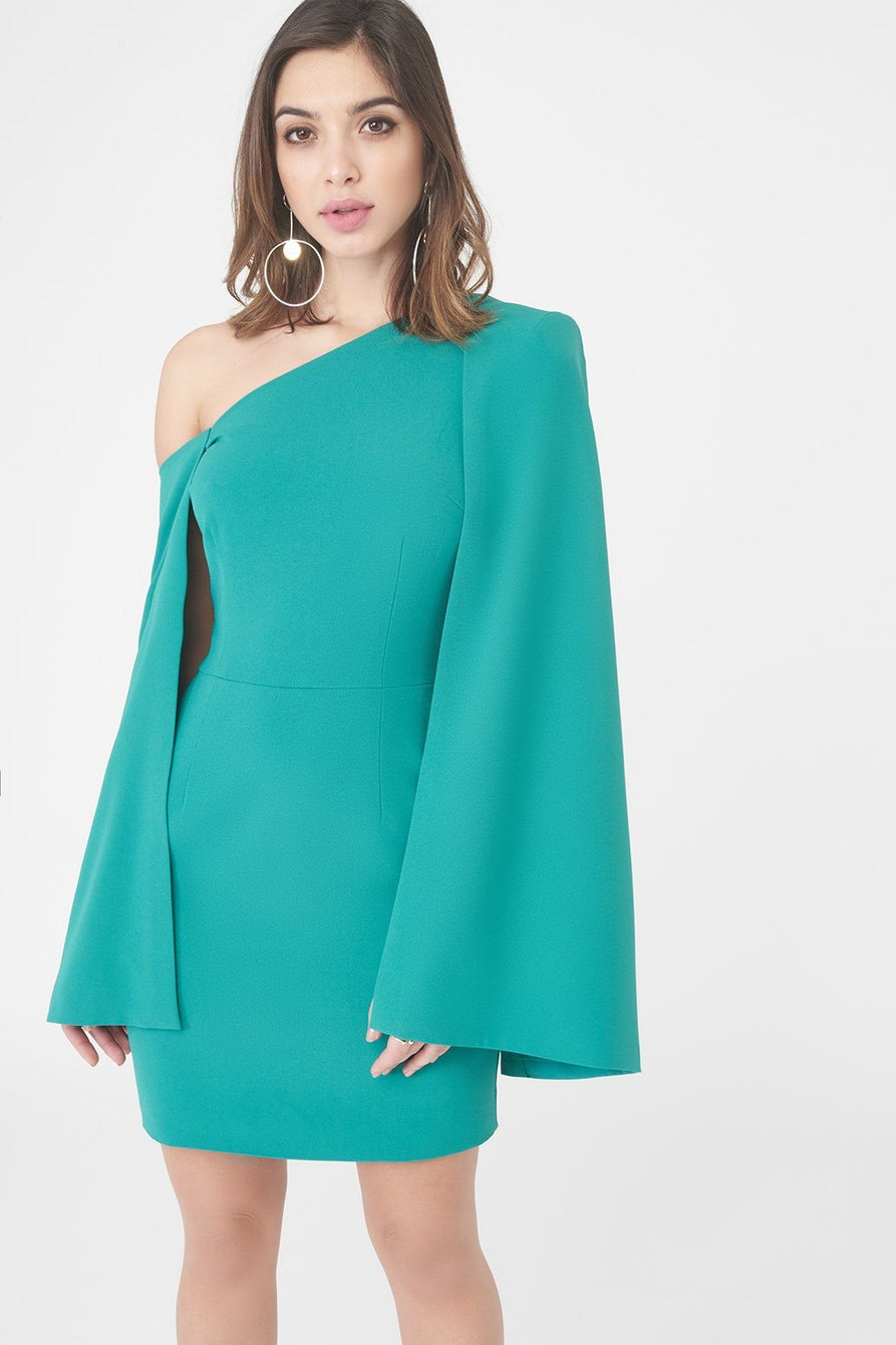 Woven Asymmetric One Shoulder Cape Mini Dress in Jade