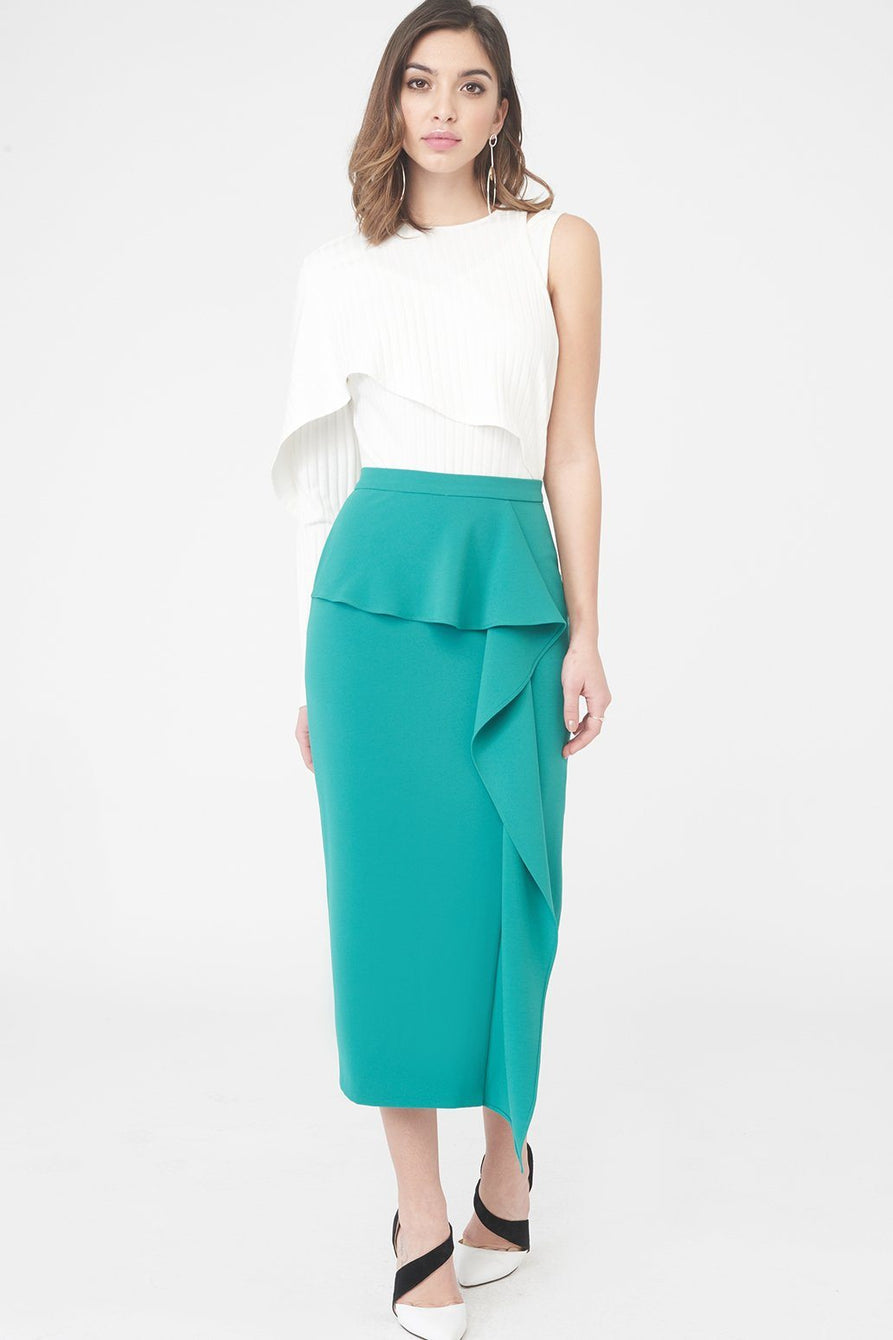 aesthetic appearance top-rated beautiful in colour Woven Midi Skirt with Asymmetric Draped Peplum in Jade Green - 6 UK