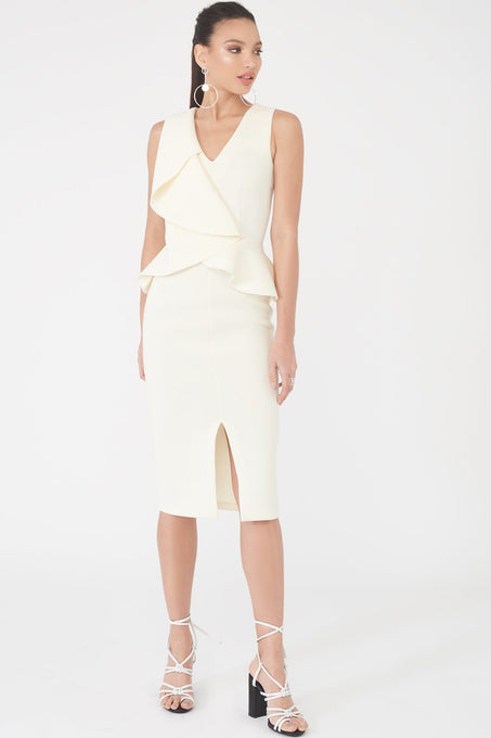 Origami Folded Peplum Midi Dress in Scuba