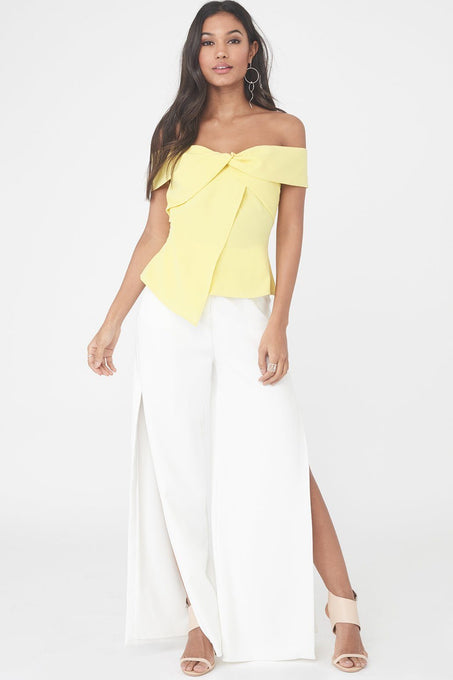Deep Side Split Wide Leg Trouser in White