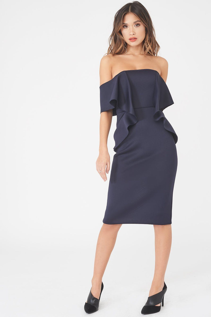 Off The Shoulder Folded Midi Dress in Scuba
