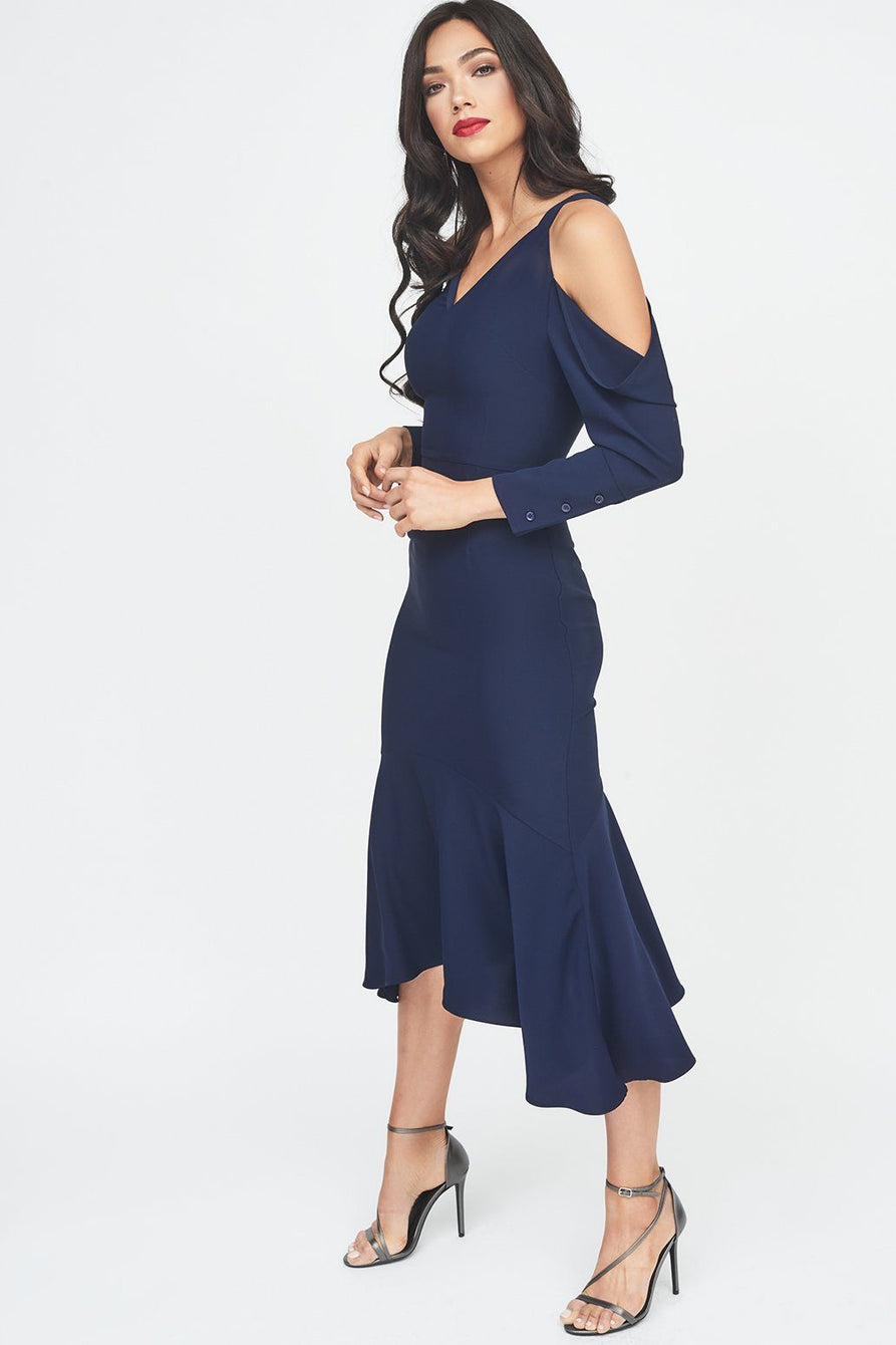 Draped Cold Shoulder Floaty Midi Dress