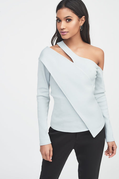 Asymmetric One Shoulder Ribbed Top