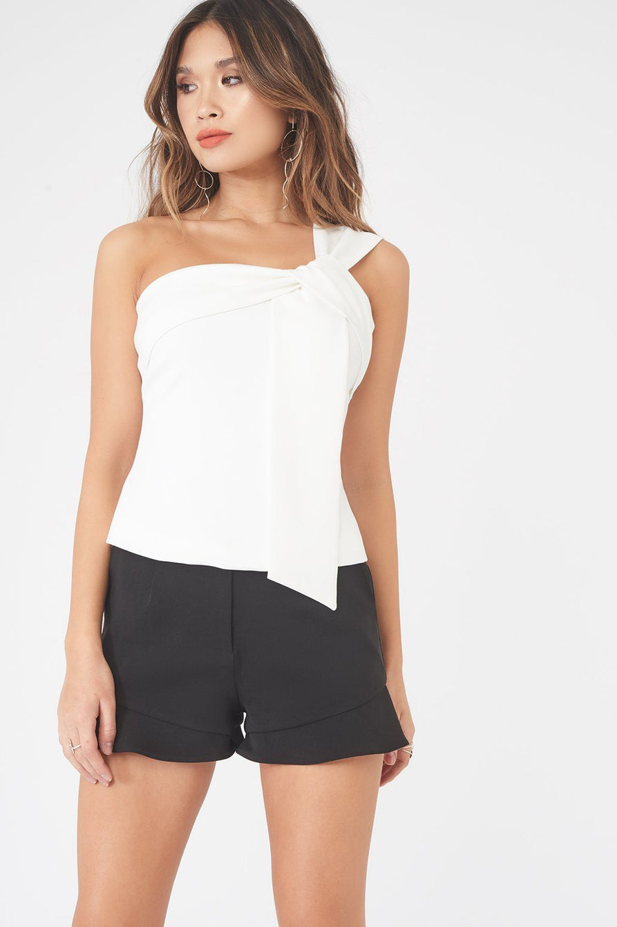 Twisted One Shoulder Asymmetric Top in White