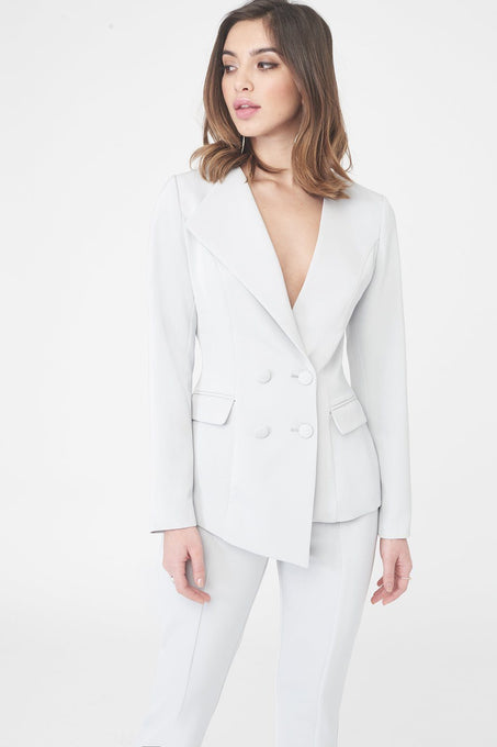 Double Breasted Asymmetric Tuxedo Jacket in Grey