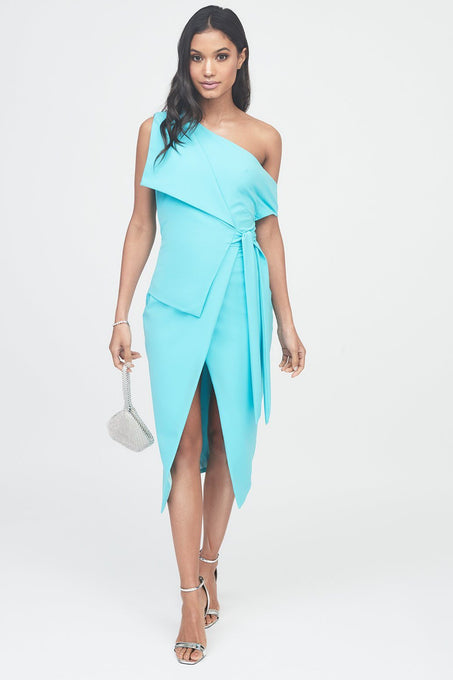 Off The Shoulder Wrap Midi Dress in Turquoise