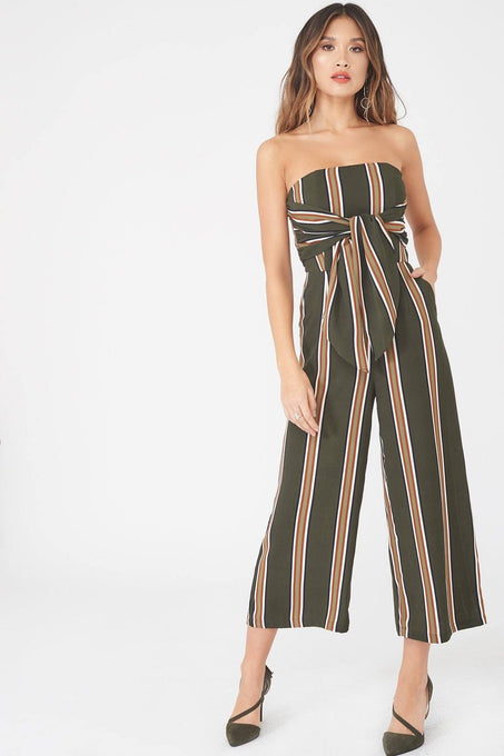 Bandeau Tie Front Tapered Jumpsuit in Khaki Stripe