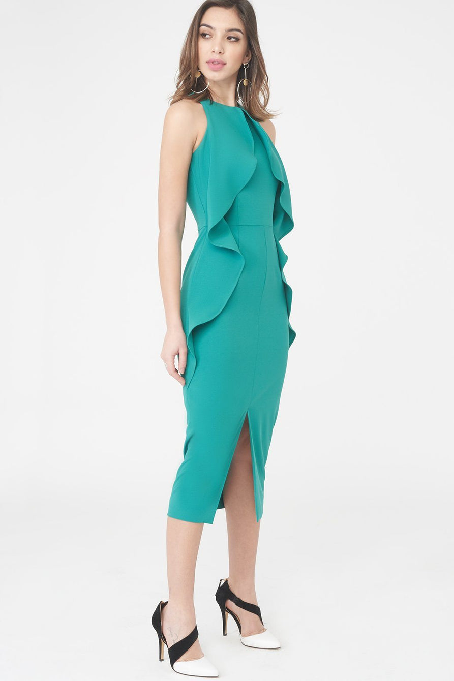 leah drapes cowl boohoo nudevotion charly double high midi layer p velvet s draped dress neck
